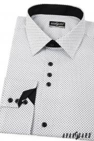 Biela pánska košeľa SLIM s čiernymi doplnkami - dlhý rukáv