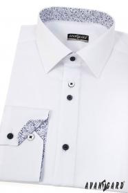 Moderná biela košeľa SLIM s dlhým rukávom