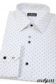 Biela pánska košeľa SLIM s modrou bodkou, dlhý rukáv