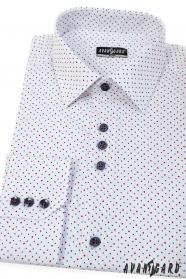 Biela košeľa SLIM s modro-červenými bodkami, dlhý rukáv