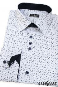Košeľa SLIM s dlhým rukávom, biela s modrými čiarkami