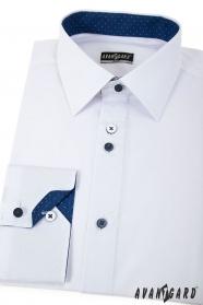 Biela slim košeľa s modrými doplnkami dlhý rukáv
