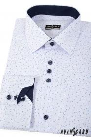 Biela slim košeľa s modrým vzorom dlhý rukáv