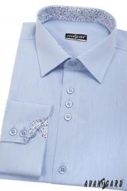 Modrá pánska košeľa slim s vnútorným vzorom, dlhý rukáv