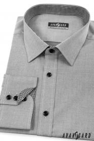 Pánska košeľa SLIM zvnútra kockovaná šedá