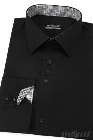 Čierna pánska slim košela dlhý rukáv