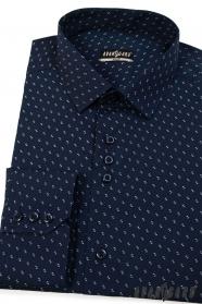 Pánska košeľa SLIM tmavomodrá so vzorom