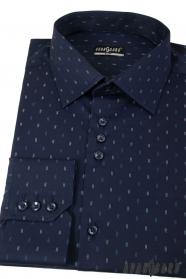 Tmavo modrá slim košeľa s čiarkami dlhý rukáv