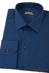 Modrá pánska slim košeľa s jemnými bodkami dlhý rukáv