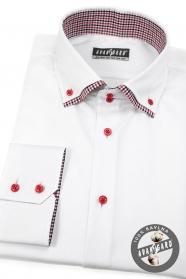 Biela košeľa SLIM dlhý rukáv, červené gombíky