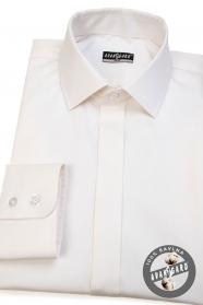 Pánska košeľa SLIM s krytou légou - Smotanová