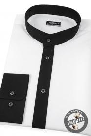 Biela pánska košeľa Slim so stojačikom a čiernym golierom