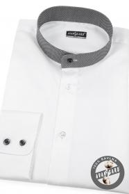 Biela pánska košeľa Slim so stojačikom a károvaným golierom