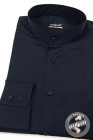Pánska košeľa so stojáčikom SLIM tmavo modrá