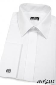Pánska košeľa SLIM krytá léga - Biela hladká