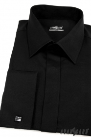 Pánska košeľa SLIM krytá léga - Čierna