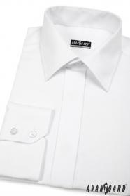 Pánska košeľa SLIM s elegantnou krytou legou - Biela