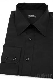 Pánska košeľa SLIM čierna hladká bavlna