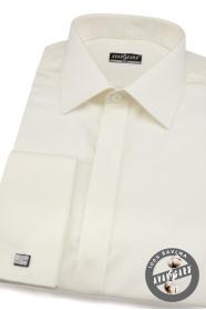 Pánska košeľa SLIM krytá léga krémová s leskom