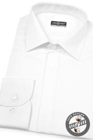 Pánska košeľa SLIM krytá léga - Biela hladká s leskom