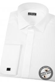 Biela piké smokingová slim košeľa s dvojitou manžetou