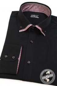 Čierna pánska košeľa REGULAR dlhý rukáv