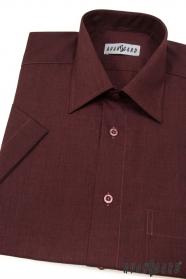 Pánska košeľa  krátky rukáv - Bordo melír