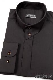 Pánska košeľa se stojáčikom na 2 gombíky čierna