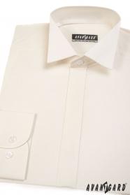 Pánska fraková košeľa s krytou legou - Smotanová
