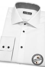 Biela pánska košeľa klasického strihu s čiernymi gombíkmi