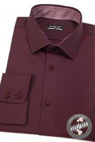 Pánska košeľa slim vo farbe bordó dlhý rukáv