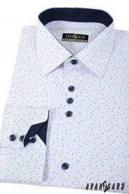 Biela košeľa s modrým vzorom dlhý rukáv