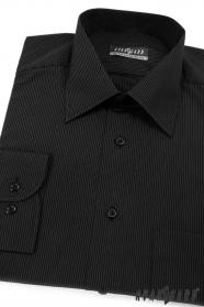 Pánska košeľa čierna s jemným bielym prúžkom