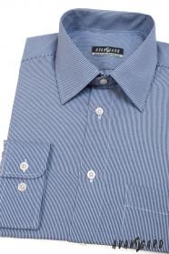 Modrá košeľa s úzkym bielym prúžkom