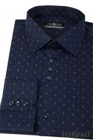 Tmavo modrá košeľa s čiarkami dlhý rukáv