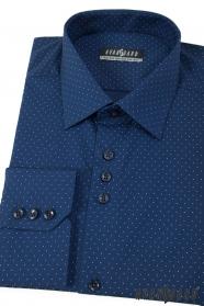 Modrá bodkovaná pánska košeľa s dlhým rukávom
