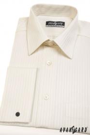 Pánska košeľa na manžetové gombíky smotanová s prúžkom
