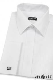 Pánska košeľa SLIM biela s lesklým prúžkom