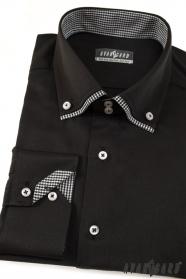 Pánska košeľa LUX dlhý rukáv - Čierna