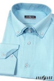 Pánska košeľa LUX dlhý rukáv - Tyrkysová dvojitý golier
