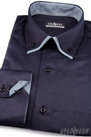 Pánska košeľa LUX tmavo modrá vnútri kockovaná