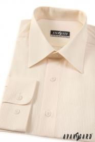 Pánska košeľa dlhý rukáv smotanová s jemnými prúžkami