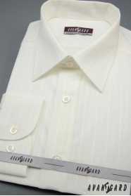 Pánska košeľa smotanová s širokým prúžkom
