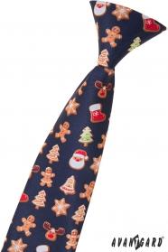 Detská kravata s vianočným vzorom 44 cm