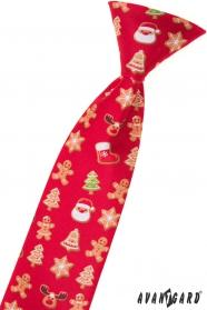 Detská červená vianočná kravata 44 cm
