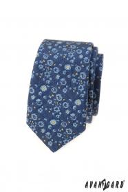Slim kravata s modro-žltým vzorom