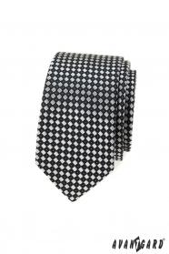 Čierno-šedá kockovaná slim kravata