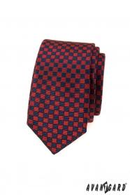 Červeno-modrá kockovaná slim kravata