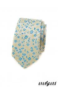 Úzka kravata s modro-žltým vzorom
