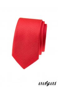 Červená štruktúrovaná slim kravata Avantgard